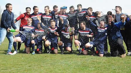 The Terrington players celebrate winning the King's Lynn Sunday League Division One. Picture: Ian Bu