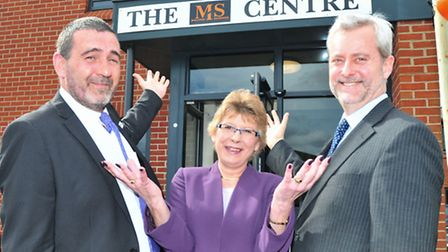 Centre manager Paul Ray, Diane Proctor, and Norwich clinical director of neurology Dr Jeff Cochius o
