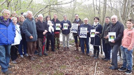 The Friends of Thorpe Woodlands are joined by MP Chloe Smith and county councillors Ian Mackie and N