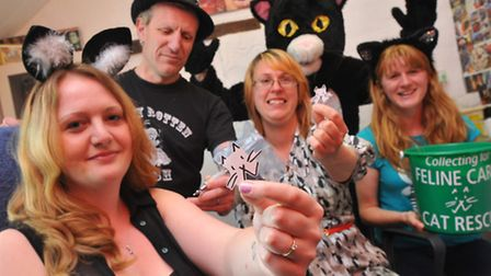 Feline Cat Care Rescue supporters(l to r) Heidi Goldsmith, Rachael Emmerson and Michelle King who wi