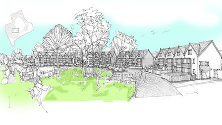 Artist Impression of open space toward the Crescent at Plumb Park, Littleham, Exmouth.