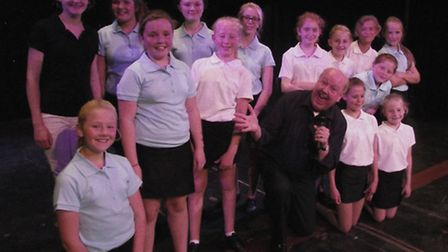 Jimmy Cricket with youngsters from the Exmouth School of Performing Arts.