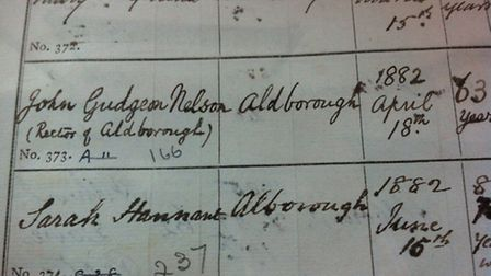 The death record, from Aldborough Church's parish registers, of John Gudgeon Nelson, rector of the c