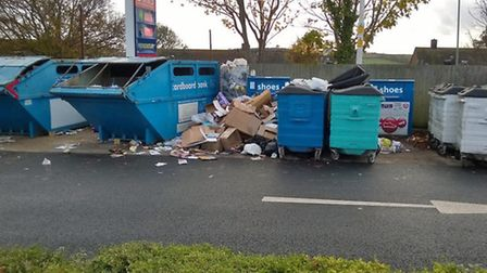 Overflowing recycling bins at Tesco, Salterton Road.