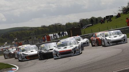 Carl Breeze in the thick of the action during his successful Ginetta GT at Thruxton.