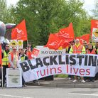 Unite blacklisting protest outside May Gurney at Trowse.Photo: Bill Smith