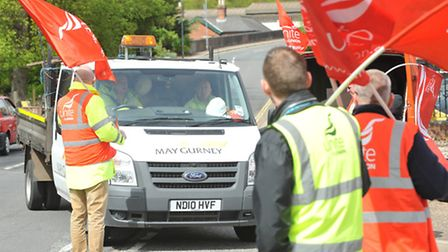 Unite said it wanted to warn May Gurney workers about Kier - the firm which could take them over.Pho