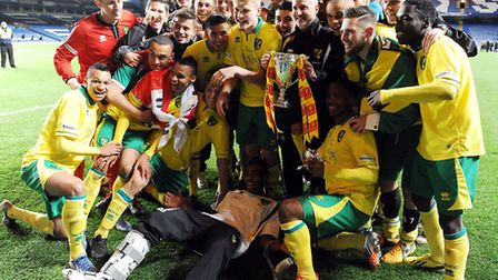 Neil Adams and his Norwich City Under-18 squad celebrate winning the FA Youth Cup. Picture: Matthew