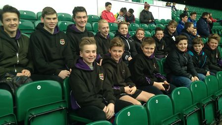 Exmouth Community College pupils at Twickenham to watch an England rugby training session.