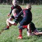Bobby Ponds set to score for Withycombe Under-10s in the game against Tavistock