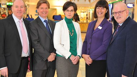 Dick Palmer, Andrew Barnes, Chloe Smith MP, Julia Nix and Nigel Pickover at the launch of the Norwic