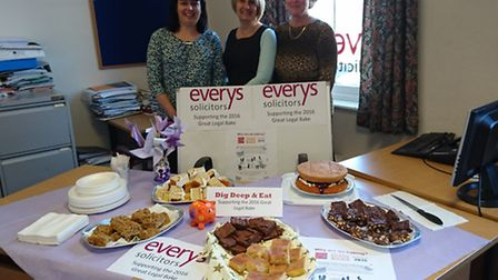 Baking justice: Alison Jessop, Paula Hexter and Jackie Lake of Everys Solicitors at the cake bake.