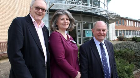 Roger Staker,Deborah Hallett and EDDC's Andrew Moulding at the Rolle College share launch. Ref exe 1