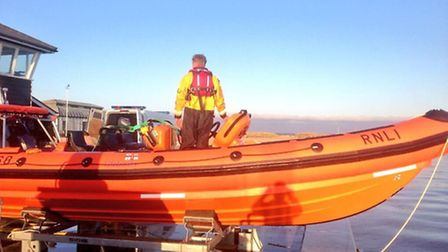Southwold's new lifeboat was called into service for the first time to transport a navy bomb squad t