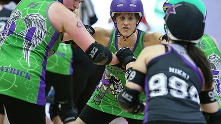 Action from the roller derby meeting between SWAT and Croydon. Picture: Graeme Willetts.