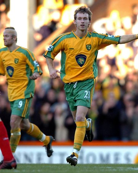 Ryan Jarvis salutes Carrow Road after his Premiership wonder sitrke against Liverpool - arguably a c