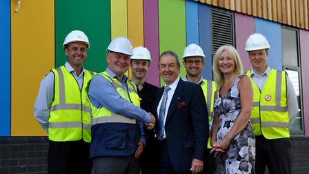 Chris Jay, director of design and maintenance at NPS South West hands-over the new maths block to Ex