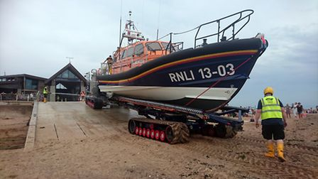 RNLI deploing the R and J Welburn.