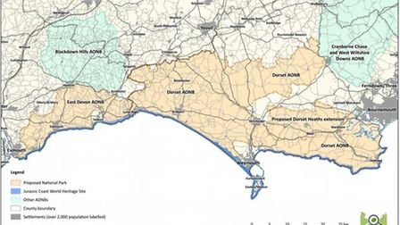 The proposed boundary for the Dorset and East Devon National Park