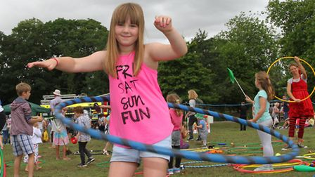 Seven year old Freya Wright from Exmouth shows off her hoop skills at the Family Day in Phear Park.