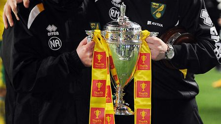 Neil Adams and Ricky Martin (right) with the FA Youth Cup. Picture: Matthew Usher