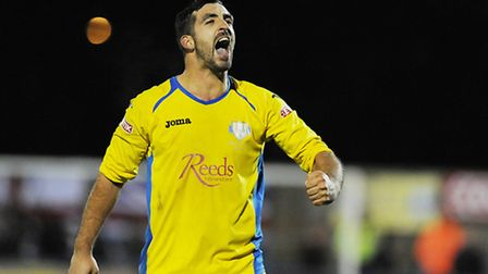 King's Lynn Town's Russell Dunkley looks to have celebrated his last goal at The Walks. Picture: Ian