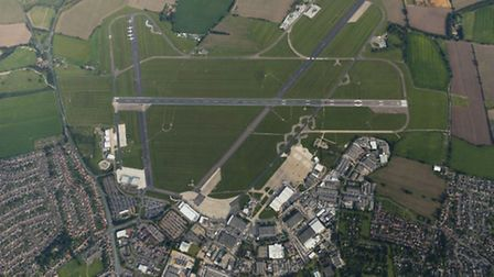 Aerial view of Norwich International Airport.