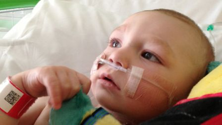 Kieran White after his operation at the Great Ormond Street Hospital