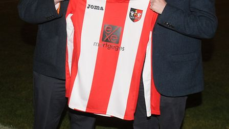 Terry Schofield (left) chairman of Exeter City Ladies FC with sponsor David Grimshaw