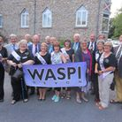 WASPI campaigners pictured outside EDDC's Knowle offices, Sidmouth after gaining the authority's sup