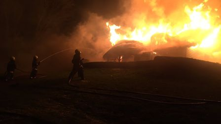 Devon and Somerset Fire and Rescue Service crews are tackling a blaze at Newton Poppleford