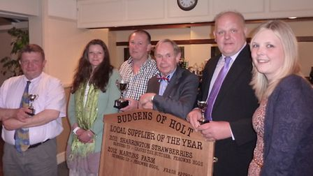 Holt Budgens suppliers award winners 2013 - David Perowne from Perownes Eggs, Karen and Jason Peart