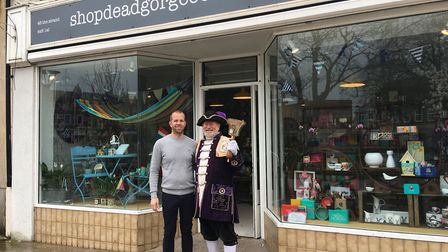 Town crier Roger Bourgein at the opening of shopdeadgorgeous with owner Jon Hough.