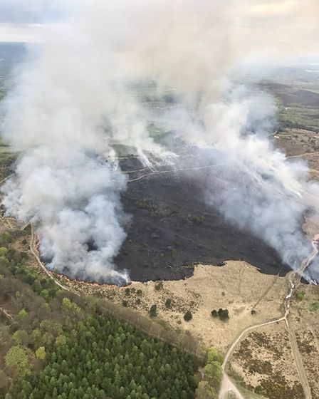 Aerial view of Woodbury Common fire by National Police Air Service Exeter