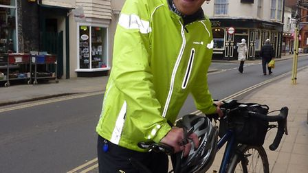Round Britain charity cyclist Swanny McCarthy at Cromer on his epic journey. Picture: RICHARD BATSON