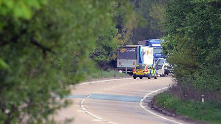 Police on the scene of an RTA at the A47 near Draytonhall Lane. Picture: Matthew Usher.