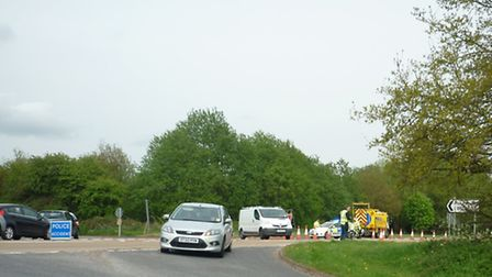 Police diversion near the scene of the fatal collision on the A47 at Scarning, Dereham