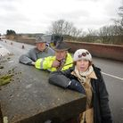 Campaigners for a footbridge over the Holt Road bridge on the outskirts of Cromer, left to right, Br