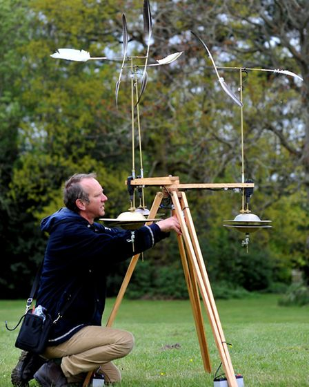 Jony Easterby with 'Rolmo Windhorse', part of Audible Forces for NNF 2013 at Earlham Park. Photo: B