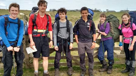 Exmouth Community College's Princetown 35 mile Ten Tors team: Louis Hockings-Cooke, Zacch Lines, Ste
