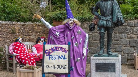 Scarcrows with Sir Walter Raleigh's statue. Picture: Peter Bowler
