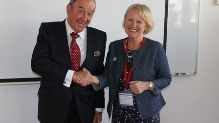 Baroness Watkins of Tavistock, pictured on her visit to Exmouth Community College with principal Ton