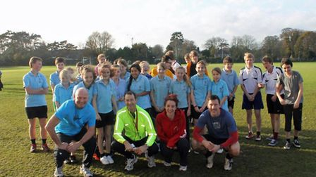 Youngsters at North Walsham High School at their mini marathon raising funds for ovarian cancer
