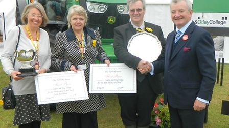 Easton & Otley College triumph at Suffolk Show, pictured with the judge John Purling.