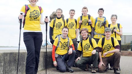 Rebecca Wass (left) and eight friends, doing the Norfolk coast walk to raise money for Fibiomyalgia