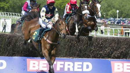 Fakenham races 2nd June 2013Ladies DayAction from the 2.30pm race - Tulla Emerald leads the field