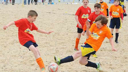 Soccer on the Sands football tournament on Central Beach in Great Yarmouth.June 2013.Picture: James