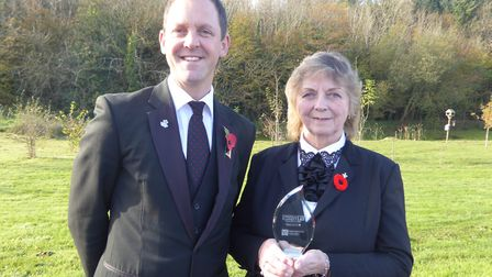 Paul Shoobridge, and mother Penny, with their runner-up trophy from the Funeral Planner of the Year