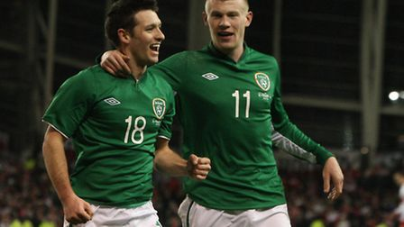 Norwich City midfielderWes Hoolahan celebrates his one and only senior goal for the Republic of Irel