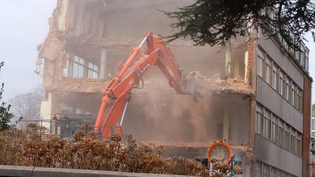 The former Rolle College being knocked down ahead of works to create the Deaf Academy on the site. P
